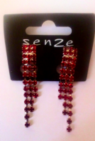 Senze red clip on drop earrings (Code 3020)